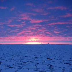 Sunset over the ice near Peter I Island