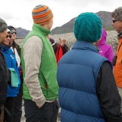 Dave Schirokauer and teachers discussing important points of braided streams