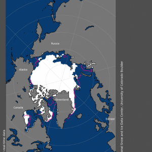 Chart of sea ice extent in July, 2020