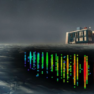 Photograph of IceCube Observatory with multicolored sensors beneath the ice